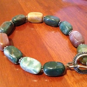 Custom Made Stone/Bead purple green brown bracelet